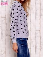 Szaro-czarna bluza z nadrukiem serduszek                                  zdj.                                  4