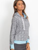 Szaro-niebieska lekka bluza w kratkę z kapturem i troczkami                                  zdj.                                  3