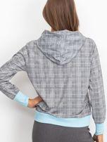 Szaro-niebieska lekka bluza w kratkę z kapturem i troczkami                                  zdj.                                  2