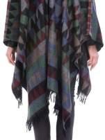 Szaro-niebieskie poncho w stylu boho z frędzlami                                  zdj.                                  7