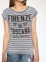 Szary t-shirt w paski z napisem FIRENZE TOSCANA                                  zdj.                                  7