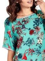 Szary t-shirt we wzór roślinny                                  zdj.                                  5