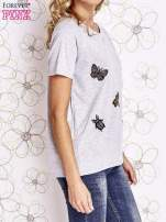 Szary t-shirt z aplikacją owadów                                                                           zdj.                                                                         3