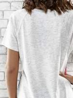 Szary t-shirt z kwiatowym nadrukiem i napisem UNREAL                                  zdj.                                  6