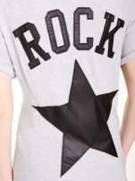 Szary t-shirt z nadrukiem ROCK na plecach