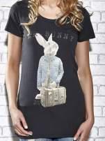 Szary t-shirt z nadrukiem królika Funk n Soul                                  zdj.                                  5