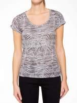 Szary t-shirt z nadrukiem zebry z dżetami                                  zdj.                                  6
