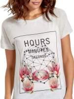 Szary t-shirt z napisem HOURS MINUTES SECONDS z dżetami                                  zdj.                                  5