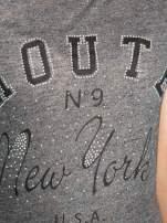 Szary t-shirt z napisem ROUTE NEW YORK                                  zdj.                                  8