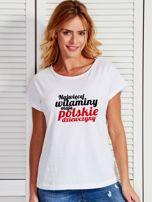 T-shirt NAJWIĘCEJ WITAMINY MAJĄ POLSKIE DZIEWCZYNY biały                                  zdj.                                  1