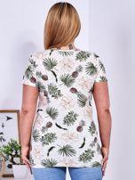 T-shirt beżowy z nadrukiem roślinnym PLUS SIZE                                  zdj.                                  2