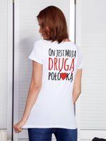 T-shirt biały dla par DRUGA POŁÓWKA                                  zdj.                                  1