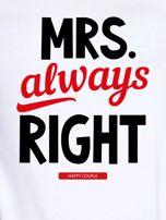 T-shirt biały dla par MRS. RIGHT                                  zdj.                                  2