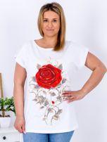 T-shirt biały z różą PLUS SIZE                                  zdj.                                  1