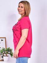 T-shirt ciemnoróżowy z gwiazdą z perełek PLUS SIZE                                  zdj.                                  5
