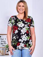 T-shirt czarny w kontrastowe kwiaty PLUS SIZE                                  zdj.                                  1