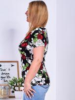 T-shirt czarny w kontrastowe kwiaty PLUS SIZE                                  zdj.                                  5