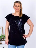 T-shirt czarny z nadrukiem boho PLUS SIZE                                  zdj.                                  1
