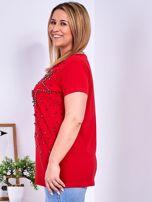 T-shirt czerwony z gwiazdą z perełek PLUS SIZE                                  zdj.                                  5