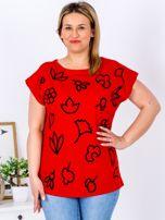 T-shirt czerwony z nadrukiem PLUS SIZE                                  zdj.                                  1