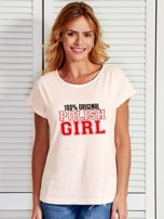 T-shirt damski patriotyczny 100% ORIGINAL POLISH GIRL ecru                                  zdj.                                  1