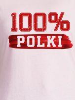 T-shirt damski patriotyczny 100% POLKI jasnoróżowy                                  zdj.                                  2