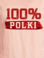 T-shirt damski patriotyczny 100% POLKI łososiowy                                  zdj.                                  2