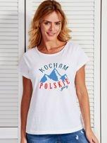 T-shirt damski patriotyczny KOCHAM POLSKIE GÓRY biały                                  zdj.                                  1