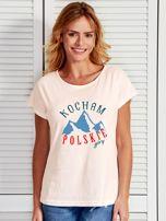T-shirt damski patriotyczny KOCHAM POLSKIE GÓRY ecru                                  zdj.                                  1