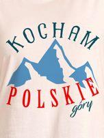 T-shirt damski patriotyczny KOCHAM POLSKIE GÓRY ecru                                  zdj.                                  2
