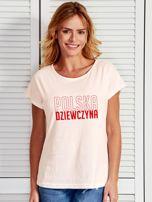 T-shirt damski patriotyczny POLSKA DZIEWCZYNA ecru                                  zdj.                                  1