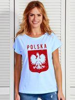 T-shirt damski patriotyczny POLSKA z Orłem Białym niebieski                                  zdj.                                  1