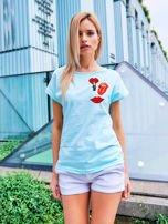 T-shirt damski turkusowy z naszywkami USTA                                  zdj.                                  1