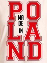 T-shirt damski z nadrukiem MADE IN POLAND ecru                                  zdj.                                  2