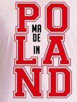 T-shirt damski z nadrukiem MADE IN POLAND jasnoróżowy                                  zdj.                                  2