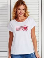 T-shirt damski z patriotycznym nadrukiem biały                                  zdj.                                  1