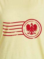 T-shirt damski z patriotycznym nadrukiem żółty                                  zdj.                                  2