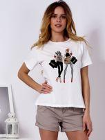 T-shirt ecru z kobiecą naszywką                                  zdj.                                  1