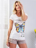 T-shirt ecru z motylem                                  zdj.                                  1