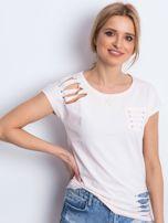 T-shirt jasnobrzoskwiniowy z rozcięciami                                  zdj.                                  1