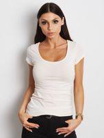 T-shirt jasnobrzoskwiniowy z wycięciami z tyłu                                  zdj.                                  1