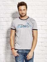 T-shirt męski z nadrukiem szary                                  zdj.                                  1