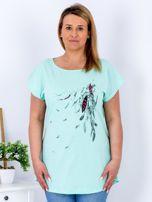 T-shirt miętowy z nadrukiem boho PLUS SIZE                                  zdj.                                  1