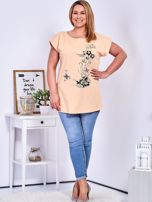 T-shirt pomarańczowy z nadrukiem motyli PLUS SIZE                                  zdj.                                  4