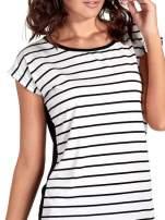 T-shirt w biało-czarne paski z koronką z tyłu                                                                          zdj.                                                                         5