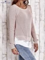 TOM TAILOR Brzoskwiniowy sweter z koszulą                                  zdj.                                  4