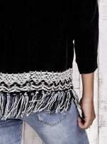 TOM TAILOR Czarny sweter o szerokim splocie z frędzlami                                  zdj.                                  5