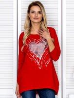 Tunika damska z malarskim sercem czerwona                                  zdj.                                  1