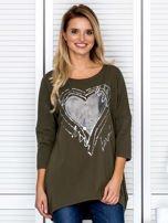Tunika damska z malarskim sercem khaki                                  zdj.                                  1