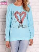 Turkusowa bluza z motywem paryskim                                  zdj.                                  1